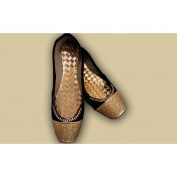 Black & Golden Stylish Khussa For Women